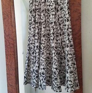 Vintage Black and White Floral A-Line Skirt